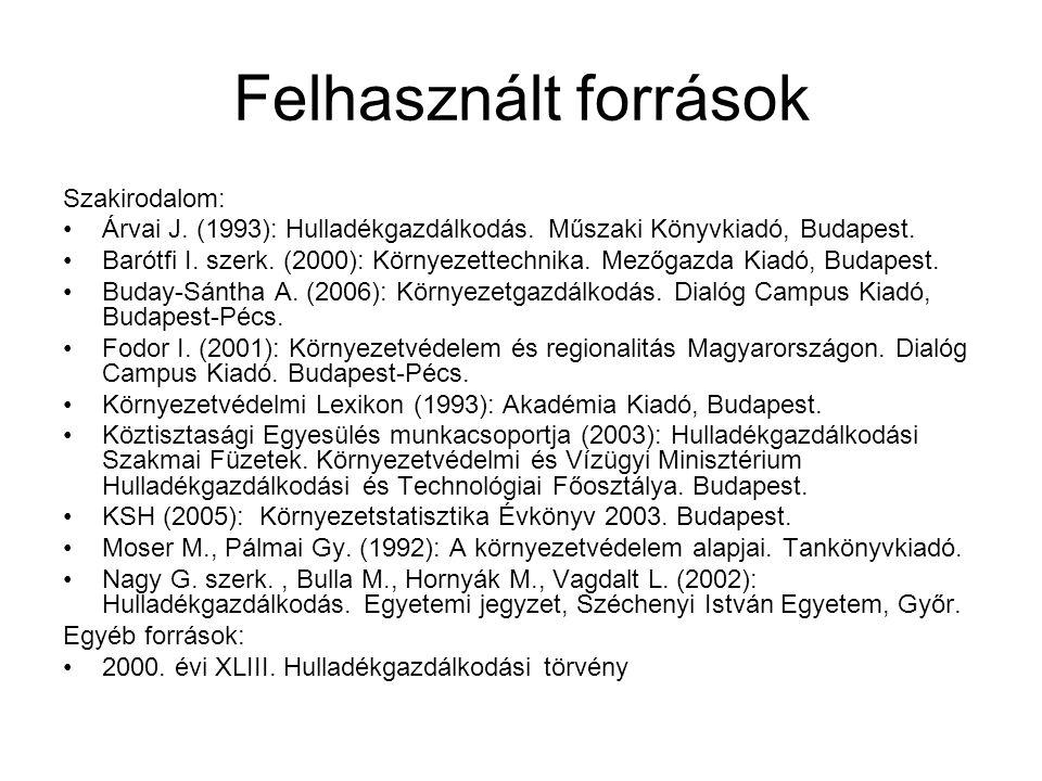 Felhasznált források Szakirodalom: Árvai J. (1993): Hulladékgazdálkodás. Műszaki Könyvkiadó, Budapest. Barótfi I. szerk. (2000): Környezettechnika. Me