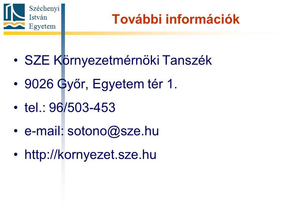 Széchenyi István Egyetem További információk SZE Környezetmérnöki Tanszék 9026 Győr, Egyetem tér 1. tel.: 96/503-453 e-mail: sotono@sze.hu http://korn