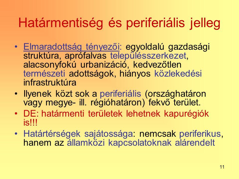 11 Határmentiség és periferiális jelleg Elmaradottság tényezői: egyoldalú gazdasági struktúra, aprófalvas településszerkezet, alacsonyfokú urbanizáció, kedvezőtlen természeti adottságok, hiányos közlekedési infrastruktúra Ilyenek közt sok a periferiális (országhatáron vagy megye- ill.