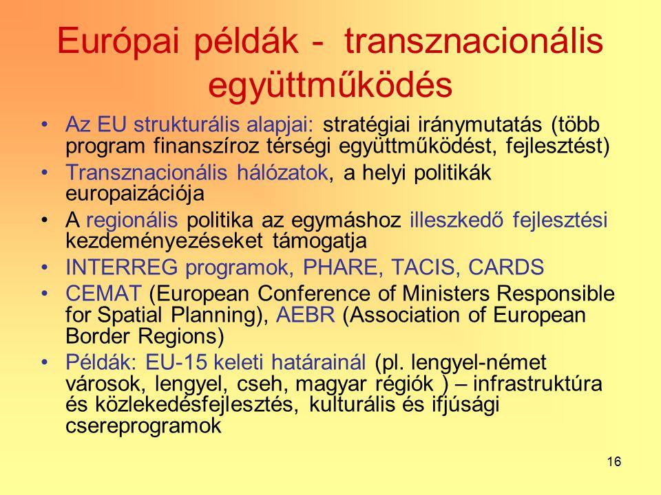 16 Európai példák - transznacionális együttműködés Az EU strukturális alapjai: stratégiai iránymutatás (több program finanszíroz térségi együttműködést, fejlesztést) Transznacionális hálózatok, a helyi politikák europaizációja A regionális politika az egymáshoz illeszkedő fejlesztési kezdeményezéseket támogatja INTERREG programok, PHARE, TACIS, CARDS CEMAT (European Conference of Ministers Responsible for Spatial Planning), AEBR (Association of European Border Regions) Példák: EU-15 keleti határainál (pl.