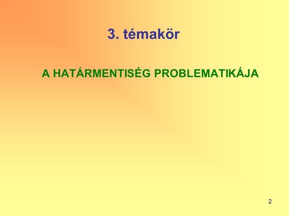 2 3. témakör A HATÁRMENTISÉG PROBLEMATIKÁJA