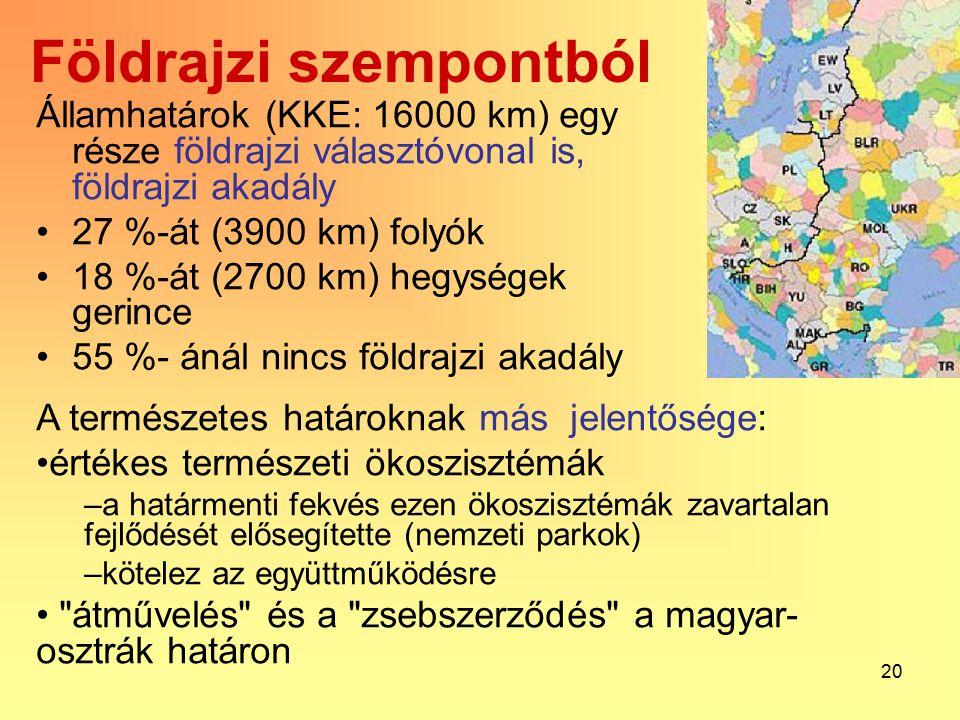 20 Földrajzi szempontból Államhatárok (KKE: 16000 km) egy része földrajzi választóvonal is, földrajzi akadály 27 %-át (3900 km) folyók 18 %-át (2700 km) hegységek gerince 55 %- ánál nincs földrajzi akadály A természetes határoknak más jelentősége: értékes természeti ökoszisztémák –a határmenti fekvés ezen ökoszisztémák zavartalan fejlődését elősegítette (nemzeti parkok) –kötelez az együttműködésre átművelés és a zsebszerződés a magyar- osztrák határon