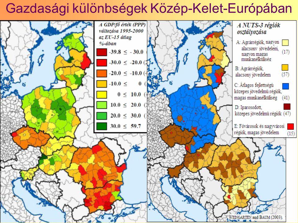 26 Gazdasági különbségek Közép-Kelet-Európában