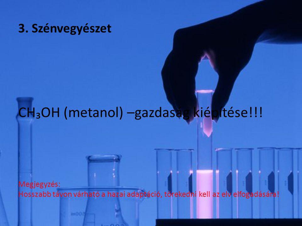 CH₃OH (metanol) –gazdaság kiépítése!!! Megjegyzés: Hosszabb távon várható a hazai adaptáció, törekedni kell az elv elfogadására! 3. Szénvegyészet