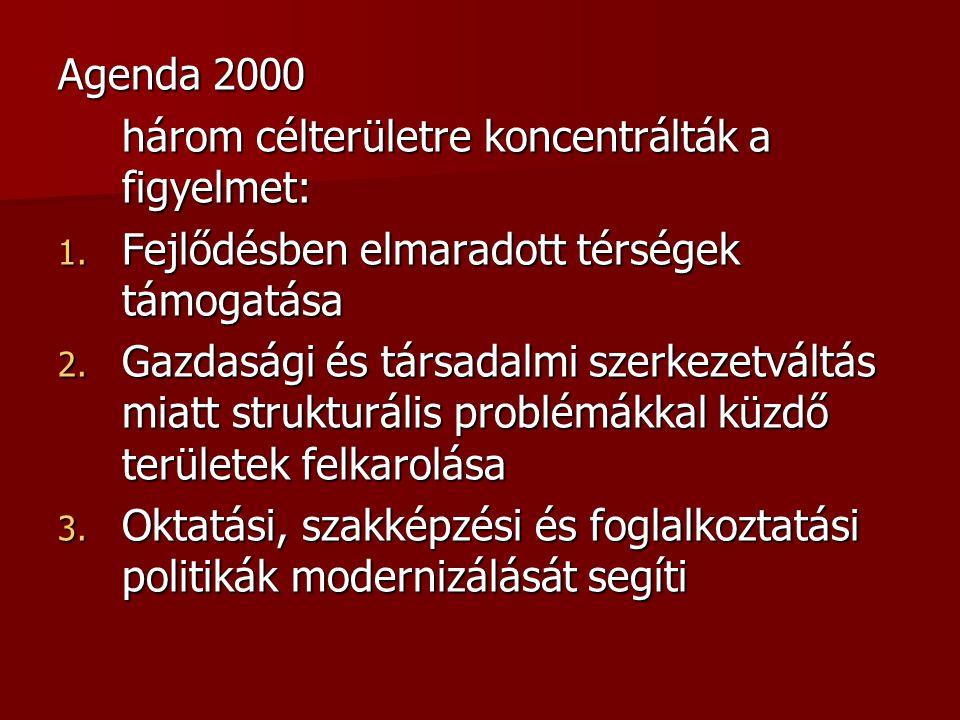 Agenda 2000 három célterületre koncentrálták a figyelmet: 1. Fejlődésben elmaradott térségek támogatása 2. Gazdasági és társadalmi szerkezetváltás mia