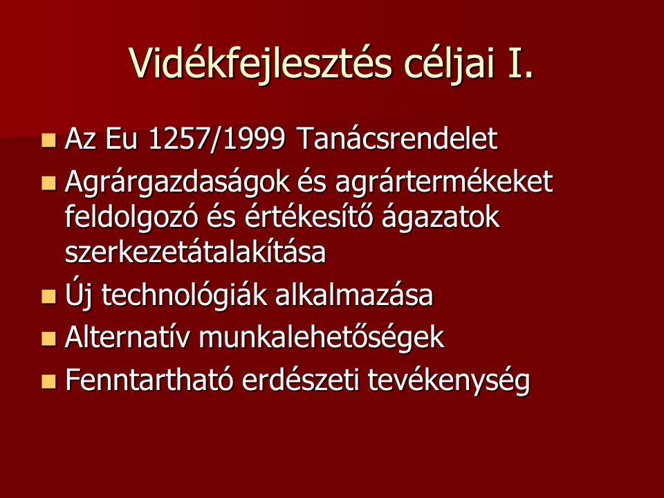 Vidékfejlesztés céljai I. Az Eu 1257/1999 Tanácsrendelet Az Eu 1257/1999 Tanácsrendelet Agrárgazdaságok és agrártermékeket feldolgozó és értékesítő ág