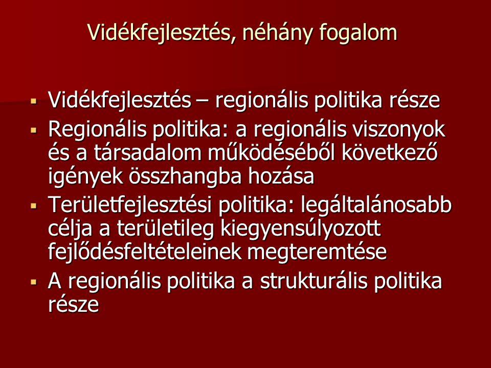 Vidékfejlesztés, néhány fogalom  Vidékfejlesztés – regionális politika része  Regionális politika: a regionális viszonyok és a társadalom működésébő