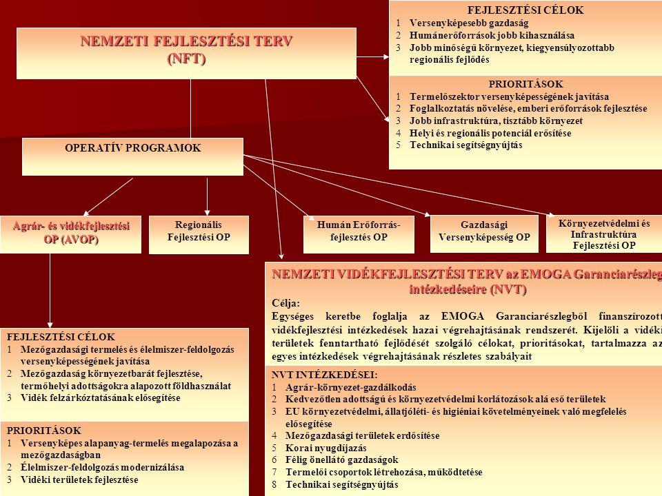 NEMZETI FEJLESZTÉSI TERV (NFT) Gazdasági Versenyképesség OP Regionális Fejlesztési OP Agrár- és vidékfejlesztési OP (AVOP) Környezetvédelmi és Infrast