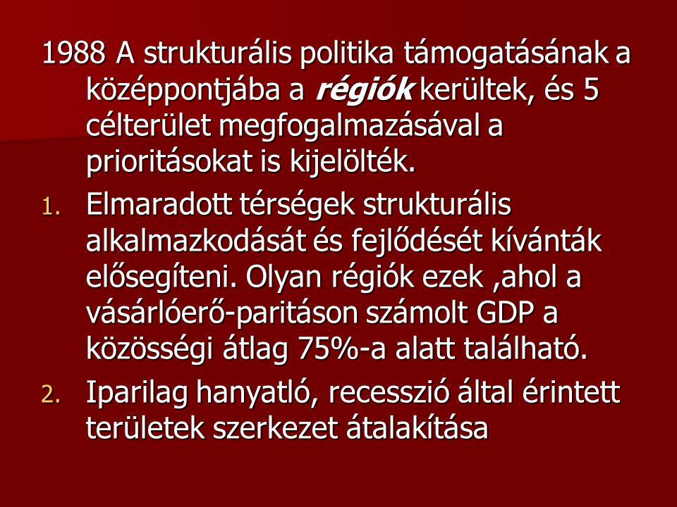 1988 A strukturális politika támogatásának a középpontjába a régiók kerültek, és 5 célterület megfogalmazásával a prioritásokat is kijelölték. 1. Elma