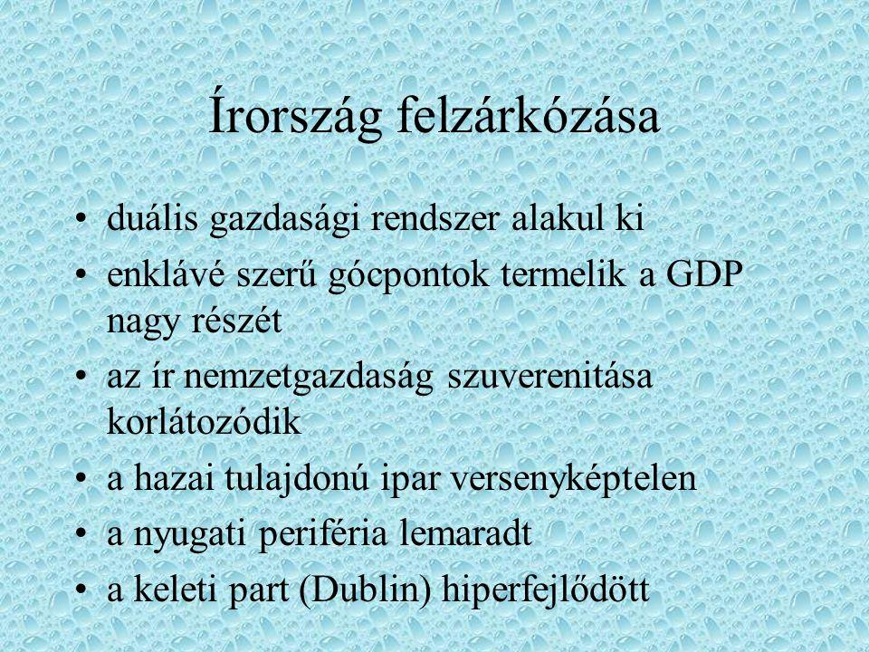Írország felzárkózása duális gazdasági rendszer alakul ki enklávé szerű gócpontok termelik a GDP nagy részét az ír nemzetgazdaság szuverenitása korlát