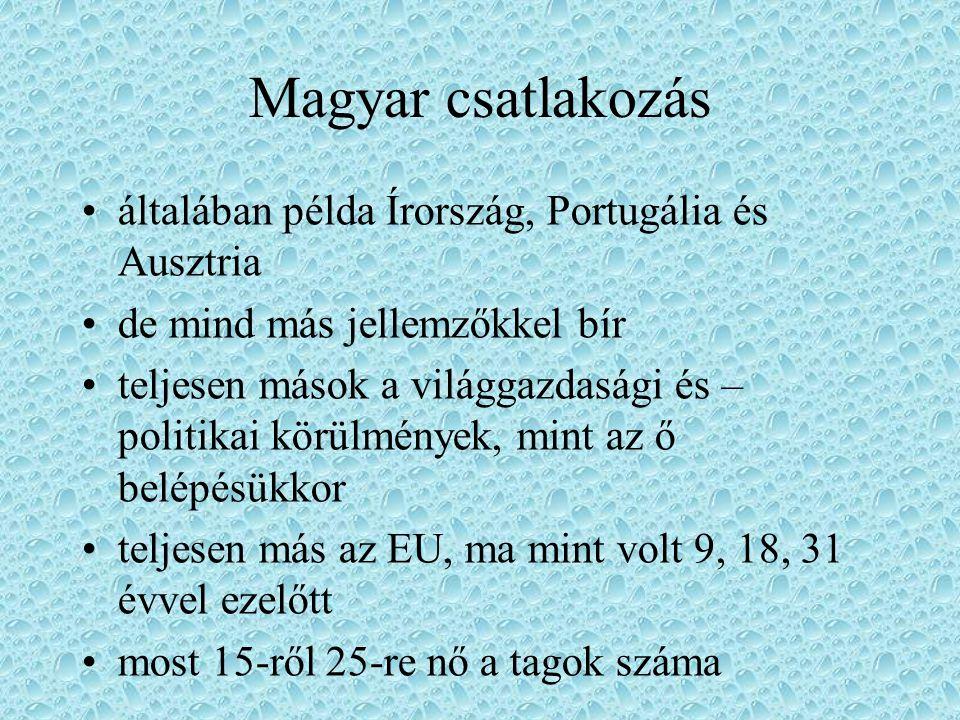 Magyar csatlakozás általában példa Írország, Portugália és Ausztria de mind más jellemzőkkel bír teljesen mások a világgazdasági és – politikai körülm