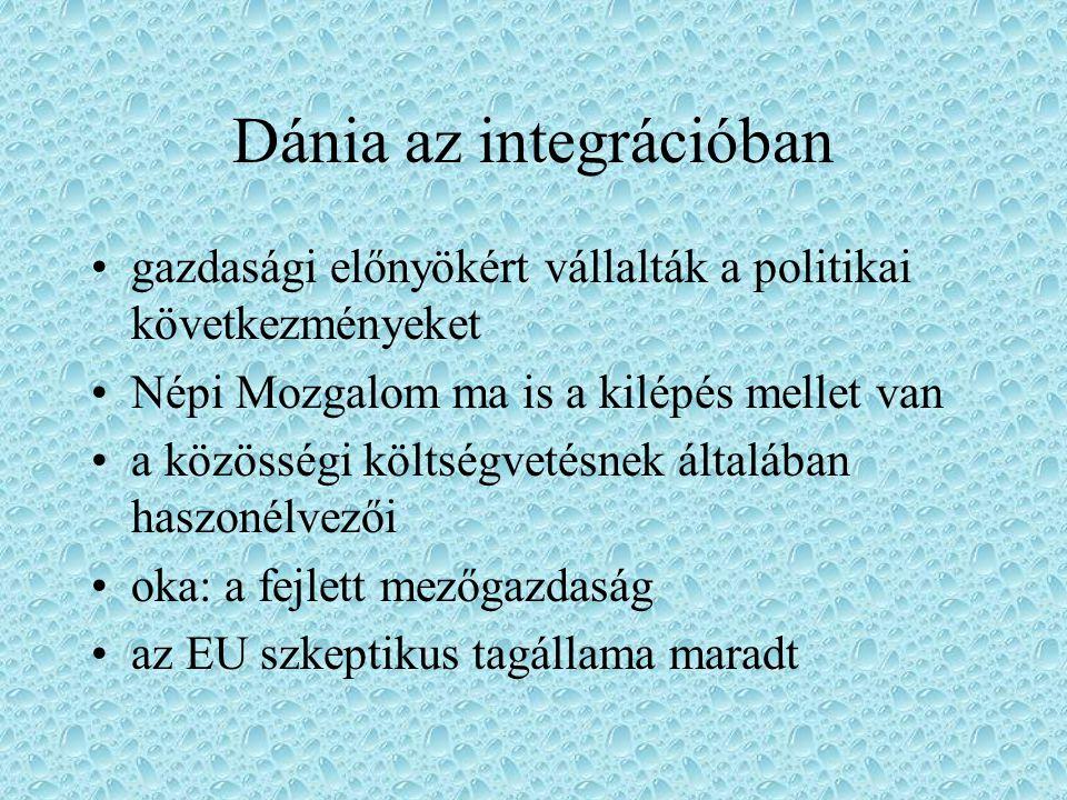 Dánia az integrációban gazdasági előnyökért vállalták a politikai következményeket Népi Mozgalom ma is a kilépés mellet van a közösségi költségvetésne