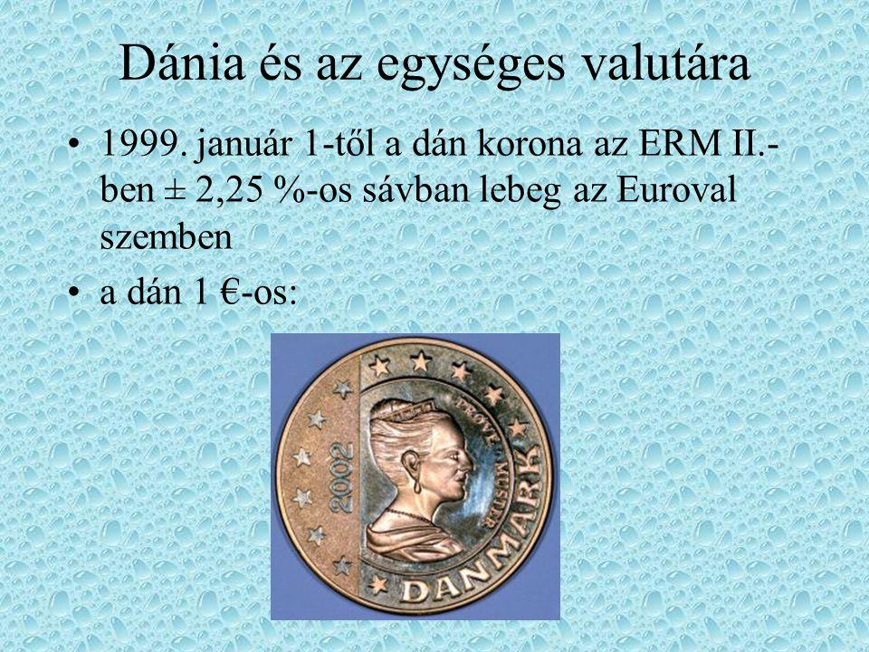 Dánia és az egységes valutára 1999. január 1-től a dán korona az ERM II.- ben ± 2,25 %-os sávban lebeg az Euroval szemben a dán 1 €-os: