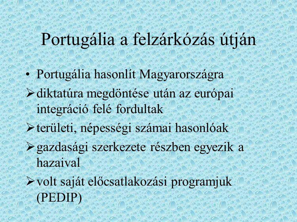 Portugália a felzárkózás útján Portugália hasonlít Magyarországra  diktatúra megdöntése után az európai integráció felé fordultak  területi, népessé