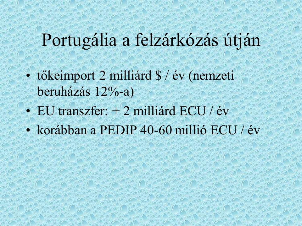 Portugália a felzárkózás útján tőkeimport 2 milliárd $ / év (nemzeti beruházás 12%-a) EU transzfer: + 2 milliárd ECU / év korábban a PEDIP 40-60 milli