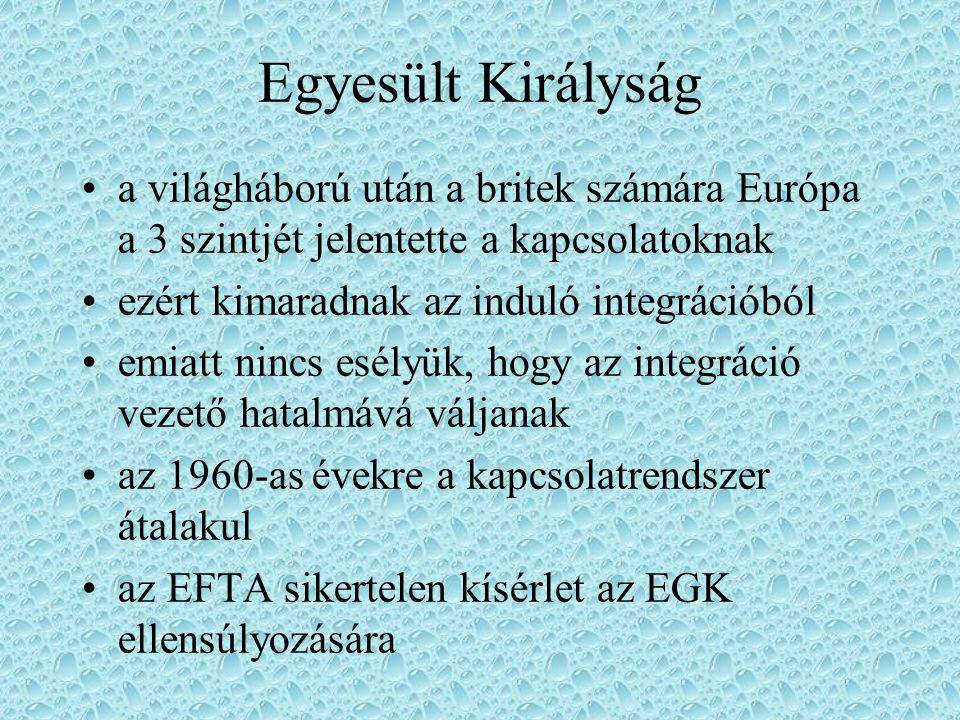 Egyesült Királyság a világháború után a britek számára Európa a 3 szintjét jelentette a kapcsolatoknak ezért kimaradnak az induló integrációból emiatt