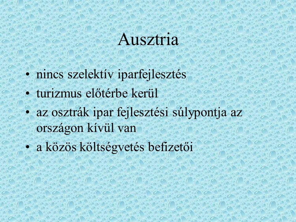 Ausztria nincs szelektív iparfejlesztés turizmus előtérbe kerül az osztrák ipar fejlesztési súlypontja az országon kívül van a közös költségvetés befi