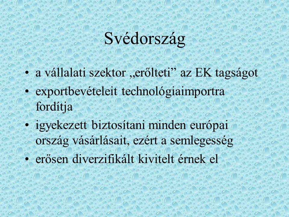 """Svédország a vállalati szektor """"erőlteti"""" az EK tagságot exportbevételeit technológiaimportra fordítja igyekezett biztosítani minden európai ország vá"""