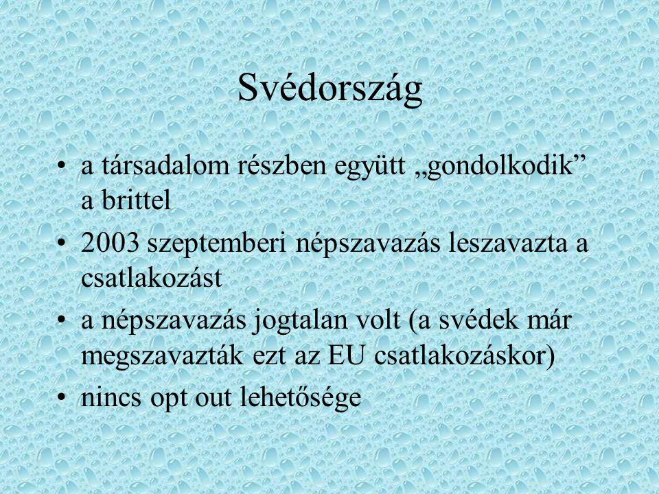 """Svédország a társadalom részben együtt """"gondolkodik"""" a brittel 2003 szeptemberi népszavazás leszavazta a csatlakozást a népszavazás jogtalan volt (a s"""