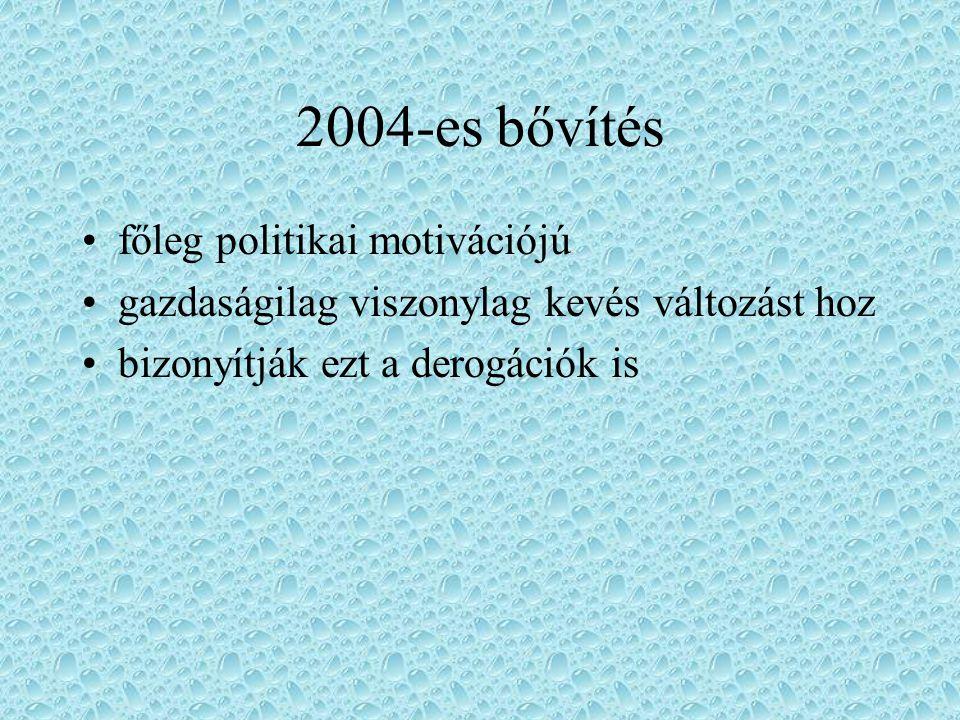 2004-es bővítés főleg politikai motivációjú gazdaságilag viszonylag kevés változást hoz bizonyítják ezt a derogációk is