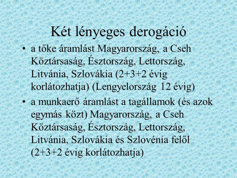 Két lényeges derogáció a tőke áramlást Magyarország, a Cseh Köztársaság, Észtország, Lettország, Litvánia, Szlovákia (2+3+2 évig korlátozhatja) (Lengy