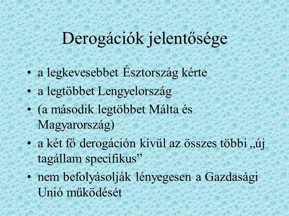Derogációk jelentősége a legkevesebbet Észtország kérte a legtöbbet Lengyelország (a második legtöbbet Málta és Magyarország) a két fő derogáción kívü