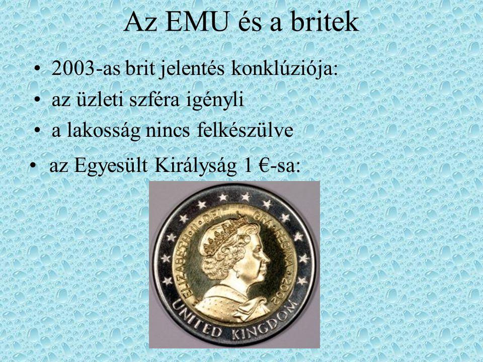 Az EMU és a britek az Egyesült Királyság 1 €-sa: 2003-as brit jelentés konklúziója: az üzleti szféra igényli a lakosság nincs felkészülve