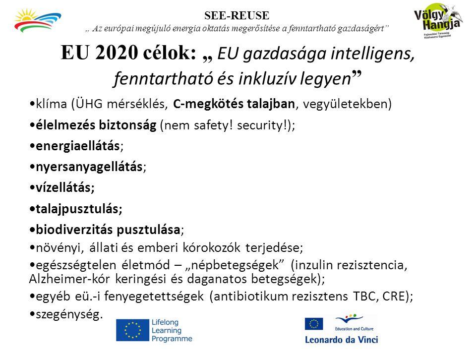 """EU 2020 célok: """" EU gazdasága intelligens, fenntartható és inkluzív legyen klíma (ÜHG mérséklés, C-megkötés talajban, vegyületekben) élelmezés biztonság (nem safety."""