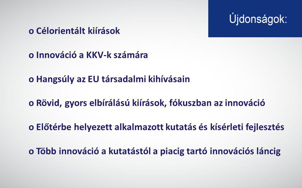 o Célorientált kiírások o Innováció a KKV-k számára o Hangsúly az EU társadalmi kihívásain o Rövid, gyors elbírálású kiírások, fókuszban az innováció o Előtérbe helyezett alkalmazott kutatás és kísérleti fejlesztés o Több innováció a kutatástól a piacig tartó innovációs láncig