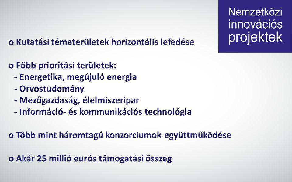 o Kutatási tématerületek horizontális lefedése o Főbb prioritási területek: - Energetika, megújuló energia - Orvostudomány - Mezőgazdaság, élelmiszeripar - Információ- és kommunikációs technológia o Több mint háromtagú konzorciumok együttműködése o Akár 25 millió eurós támogatási összeg