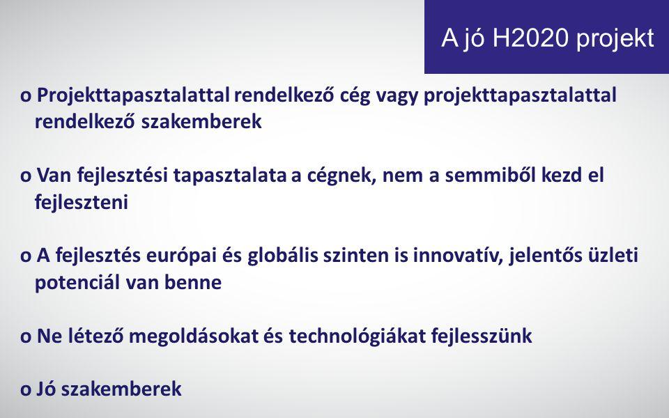 A jó H2020 projekt o Projekttapasztalattal rendelkező cég vagy projekttapasztalattal rendelkező szakemberek o Van fejlesztési tapasztalata a cégnek, nem a semmiből kezd el fejleszteni o A fejlesztés európai és globális szinten is innovatív, jelentős üzleti potenciál van benne o Ne létező megoldásokat és technológiákat fejlesszünk o Jó szakemberek