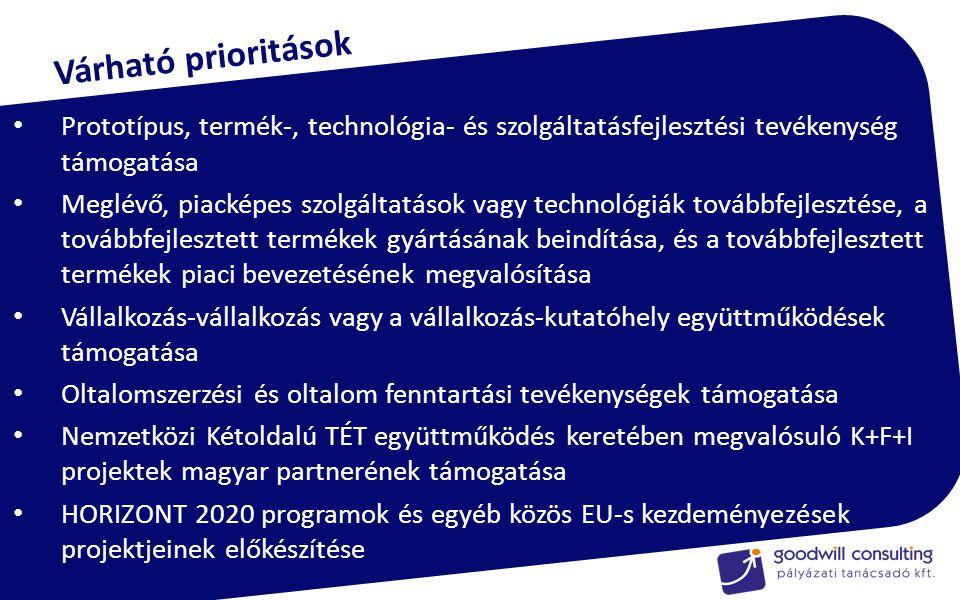 Prototípus, termék-, technológia- és szolgáltatásfejlesztési tevékenység támogatása Meglévő, piacképes szolgáltatások vagy technológiák továbbfejlesztése, a továbbfejlesztett termékek gyártásának beindítása, és a továbbfejlesztett termékek piaci bevezetésének megvalósítása Vállalkozás-vállalkozás vagy a vállalkozás-kutatóhely együttműködések támogatása Oltalomszerzési és oltalom fenntartási tevékenységek támogatása Nemzetközi Kétoldalú TÉT együttműködés keretében megvalósuló K+F+I projektek magyar partnerének támogatása HORIZONT 2020 programok és egyéb közös EU-s kezdeményezések projektjeinek előkészítése Várható prioritások