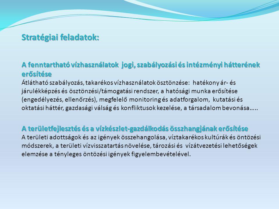 Stratégiai feladatok: A fenntartható vízhasználatok jogi, szabályozási és intézményi hátterének erősítése Átlátható szabályozás, takarékos vízhasználatok ösztönzése: hatékony ár- és járulékképzés és ösztönzési/támogatási rendszer, a hatósági munka erősítése (engedélyezés, ellenőrzés), megfelelő monitoring és adatforgalom, kutatási és oktatási háttér, gazdasági válság és konfliktusok kezelése, a társadalom bevonása…..