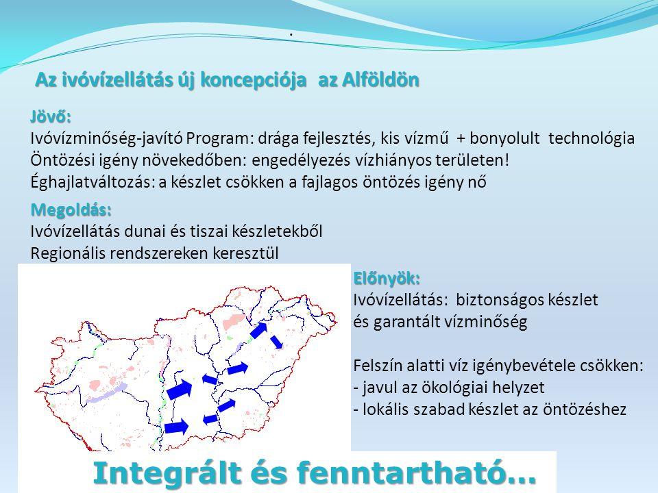 Az ivóvízellátás új koncepciója az Alföldön Az ivóvízellátás új koncepciója az Alföldön Jövő: Ivóvízminőség-javító Program: drága fejlesztés, kis vízmű + bonyolult technológia Öntözési igény növekedőben: engedélyezés vízhiányos területen.