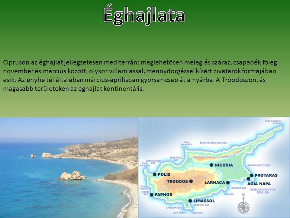 Cipruson az éghajlat jellegzetesen mediterrán: meglehetősen meleg és száraz, csapadék főleg november és március között, olykor villámlással, mennydörg