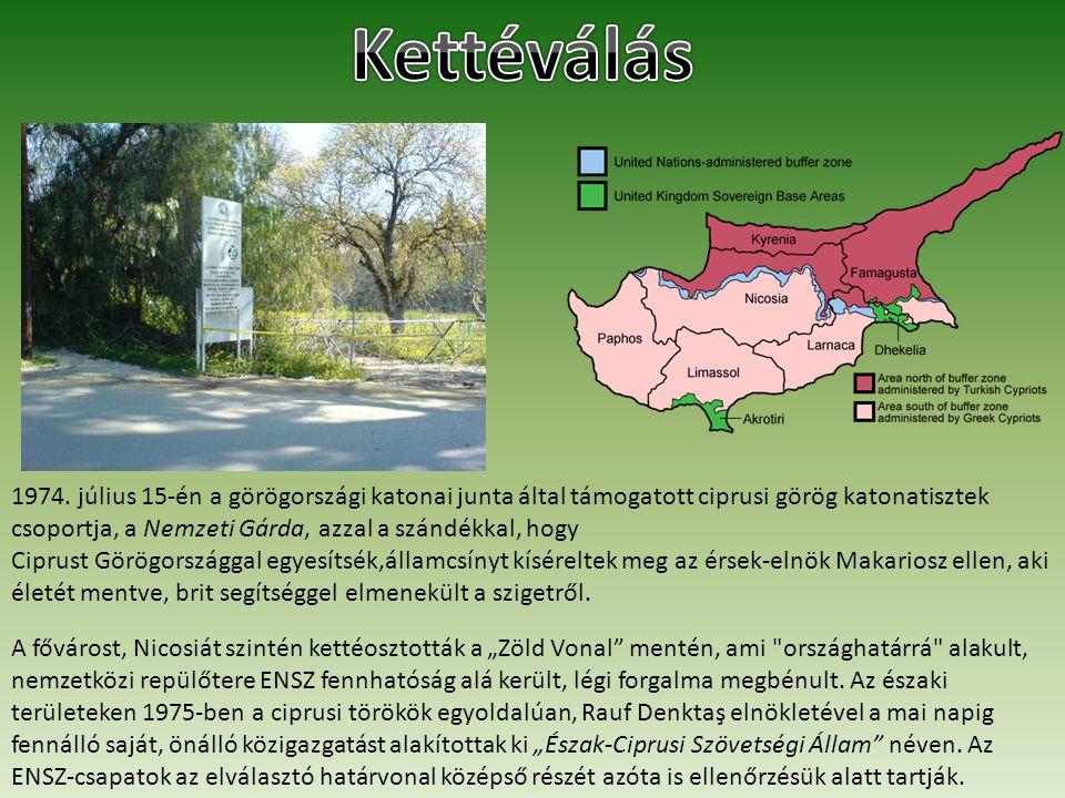 1974. július 15-én a görögországi katonai junta által támogatott ciprusi görög katonatisztek csoportja, a Nemzeti Gárda, azzal a szándékkal, hogy Cipr