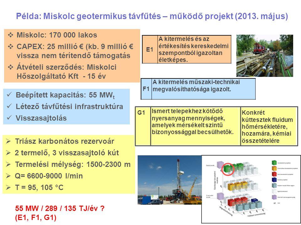 Példa: Miskolc geotermikus távfűtés – működő projekt (2013. május)  Triász karbonátos rezervoár  2 termelő, 3 visszasajtoló kút  Termelési mélység: