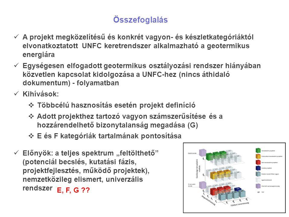 """Összefoglalás A projekt megközelítésű és konkrét vagyon- és készletkategóriáktól elvonatkoztatott UNFC keretrendszer alkalmazható a geotermikus energiára Egységesen elfogadott geotermikus osztályozási rendszer hiányában közvetlen kapcsolat kidolgozása a UNFC-hez (nincs áthidaló dokumentum) - folyamatban Kihívások:  Többcélú hasznosítás esetén projekt definíció  Adott projekthez tartozó vagyon számszerűsítése és a hozzárendelhető bizonytalanság megadása (G)  E és F kategóriák tartalmának pontosítása Előnyök: a teljes spektrum """"feltölthető (potenciál becslés, kutatási fázis, projektfejlesztés, működő projektek), nemzetközileg elismert, univerzális rendszer E, F, G ??"""