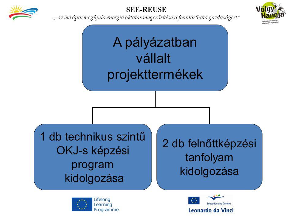 """SEE-REUSE """" Az európai megújuló energia oktatás megerősítése a fenntartható gazdaságért"""" A pályázatban vállalt projekttermékek 1 db technikus szintű O"""