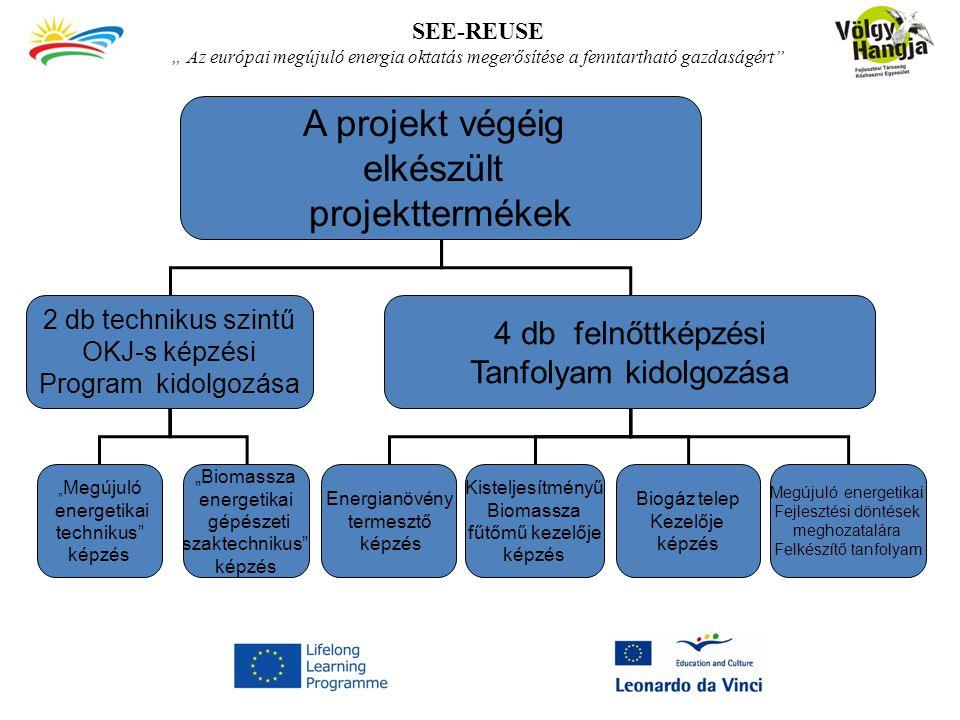 """SEE-REUSE """" Az európai megújuló energia oktatás megerősítése a fenntartható gazdaságért A projekt végéig elkészült projekttermékek 2 db technikus szintű OKJ-s képzési Program kidolgozása 4 db felnőttképzési Tanfolyam kidolgozása """" Megújuló energetikai technikus képzés """"Biomassza energetikai gépészeti szaktechnikus képzés Energianövény termesztő képzés Kisteljesítményű Biomassza fűtőmű kezelője képzés Biogáz telep Kezelője képzés Megújuló energetikai Fejlesztési döntések meghozatalára Felkészítő tanfolyam"""