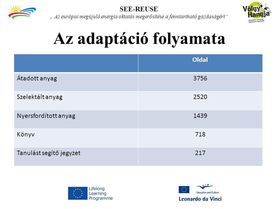 """Az adaptáció folyamata Oldal Átadott anyag3756 Szelektált anyag2520 Nyersfordított anyag1439 Könyv718 Tanulást segítő jegyzet217 SEE-REUSE """" Az európai megújuló energia oktatás megerősítése a fenntartható gazdaságért"""