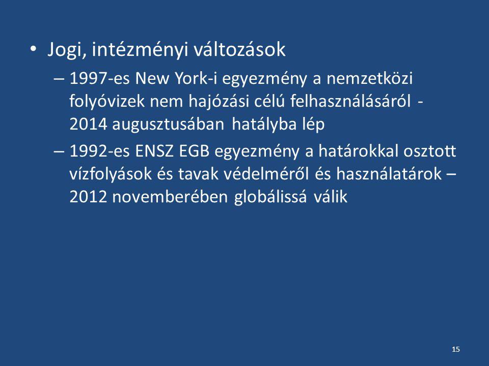Jogi, intézményi változások – 1997-es New York-i egyezmény a nemzetközi folyóvizek nem hajózási célú felhasználásáról - 2014 augusztusában hatályba lép – 1992-es ENSZ EGB egyezmény a határokkal osztott vízfolyások és tavak védelméről és használatárok – 2012 novemberében globálissá válik 15
