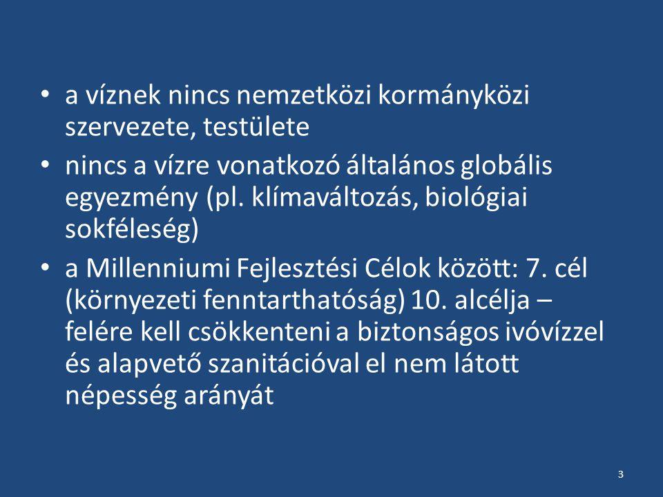 a víznek nincs nemzetközi kormányközi szervezete, testülete nincs a vízre vonatkozó általános globális egyezmény (pl.