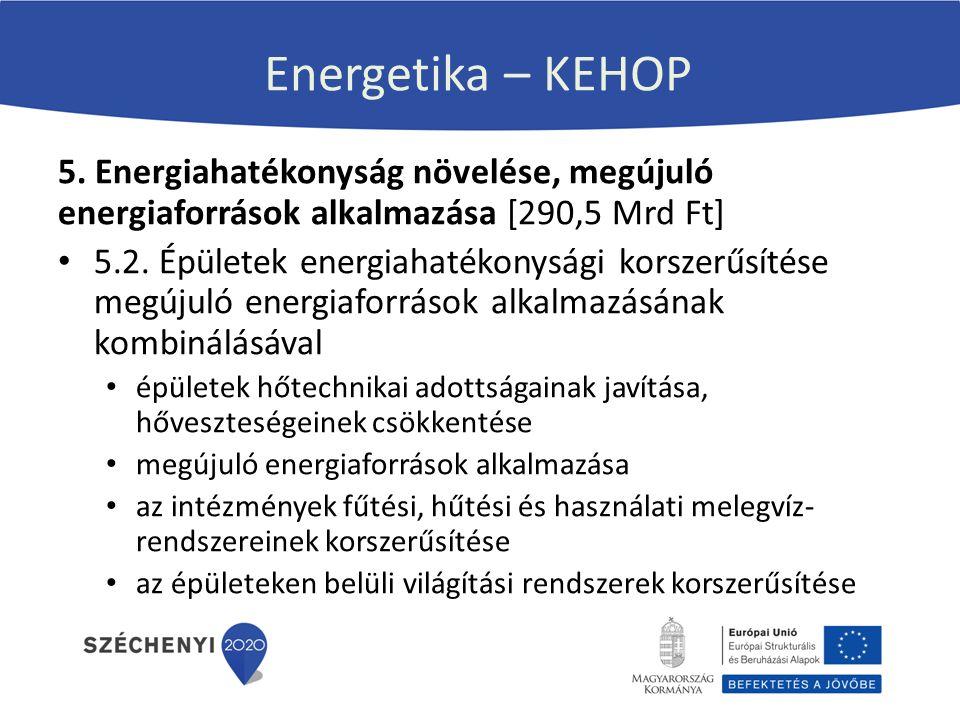 Energetika – KEHOP 5. Energiahatékonyság növelése, megújuló energiaforrások alkalmazása [290,5 Mrd Ft] 5.2. Épületek energiahatékonysági korszerűsítés
