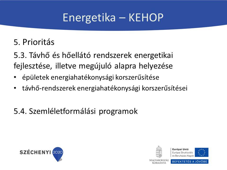 Energetika – KEHOP 5. Prioritás 5.3. Távhő és hőellátó rendszerek energetikai fejlesztése, illetve megújuló alapra helyezése épületek energiahatékonys