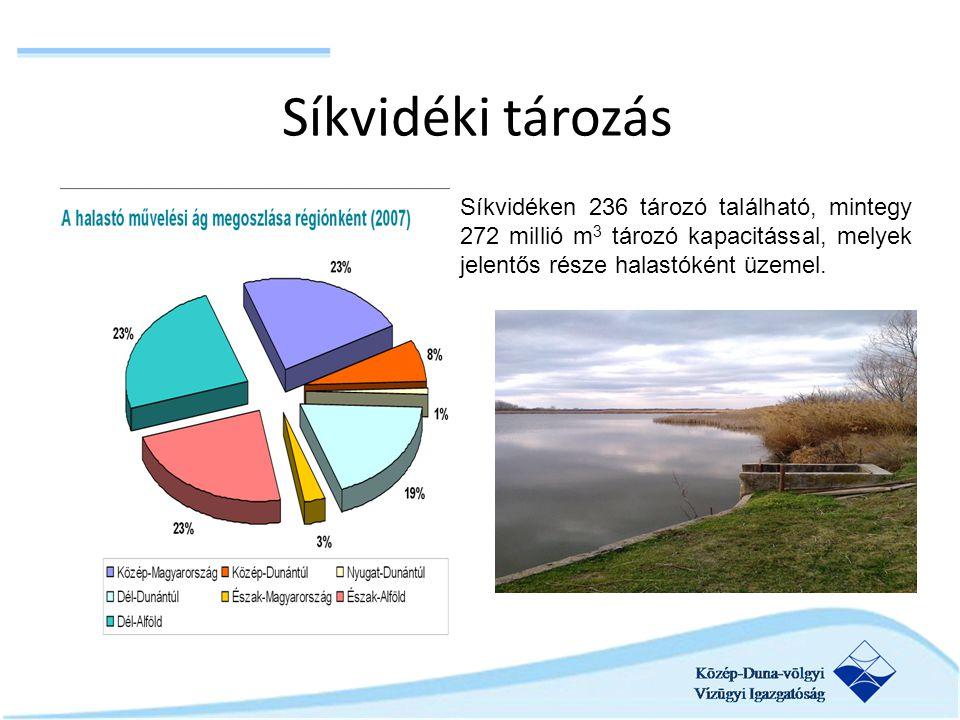 Síkvidéki tározás Síkvidéken 236 tározó található, mintegy 272 millió m 3 tározó kapacitással, melyek jelentős része halastóként üzemel.