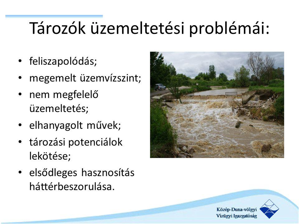 Tározók üzemeltetési problémái: feliszapolódás; megemelt üzemvízszint; nem megfelelő üzemeltetés; elhanyagolt művek; tározási potenciálok lekötése; elsődleges hasznosítás háttérbeszorulása.