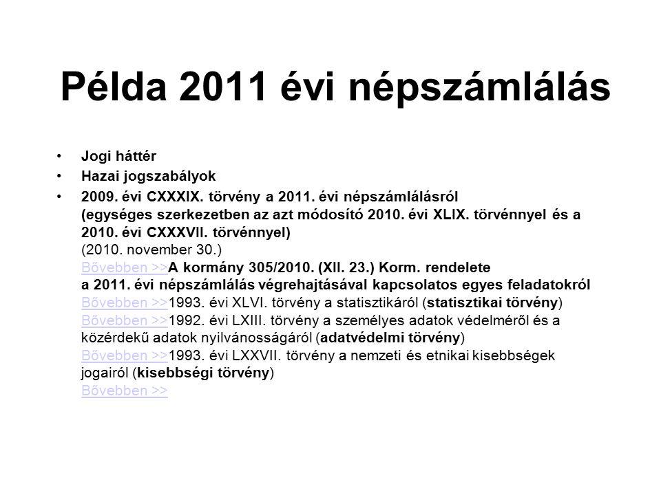 Példa 2011 évi népszámlálás Jogi háttér Hazai jogszabályok 2009. évi CXXXIX. törvény a 2011. évi népszámlálásról (egységes szerkezetben az azt módosít
