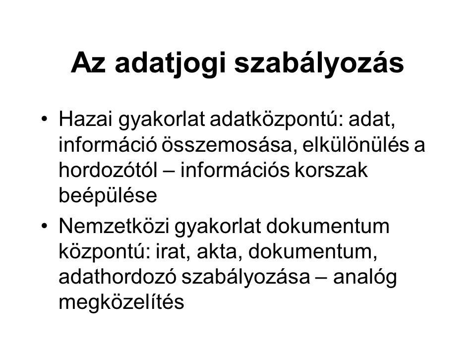 Az adatjogi szabályozás Hazai gyakorlat adatközpontú: adat, információ összemosása, elkülönülés a hordozótól – információs korszak beépülése Nemzetköz