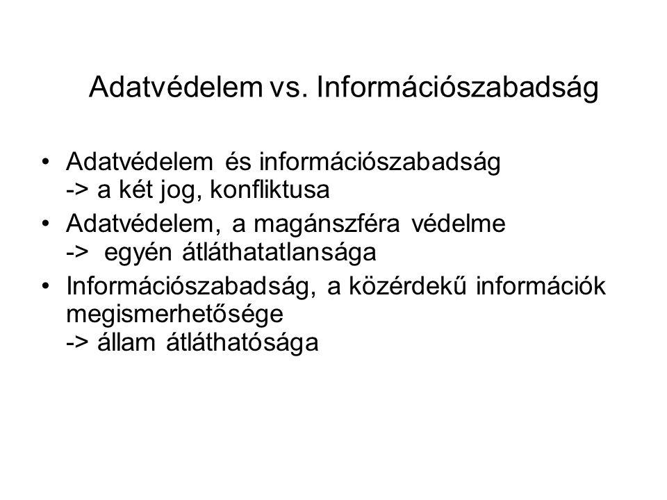 Adatvédelem vs. Információszabadság Adatvédelem és információszabadság -> a két jog, konfliktusa Adatvédelem, a magánszféra védelme -> egyén átláthata